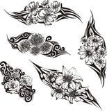 Stammes- Blumen-Tätowierungen Lizenzfreies Stockbild