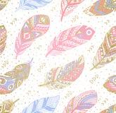 Stammes- boho aztekischer endloser Hintergrund Hand gezeichnete Abbildung Lizenzfreies Stockbild