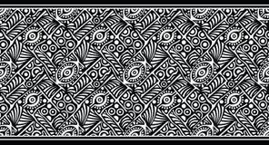 Stammes- Design des nahtlosen Schwarzweiss-Vektors Grenz Stockbild
