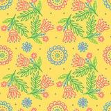 Stammes- Druck Ethnischer Hintergrund Gelbe Blumen, Basisrecheneinheit, Inneres mit Tropfen Vektortapete lizenzfreie abbildung