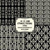 Stammes- ethnische Artsammlung des nahtlosen abstrakten Musters mit Franc Stockfoto