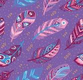 Stammes- Federmuster in den blauen, rosa und purpurroten Farben Kreative Illustration des Vektors Lizenzfreie Stockbilder