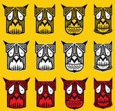 Stammes- furchtsame Halloween-Schädeltotem-Maskottchenillustration Stockbild