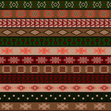 Stammes- gestrickte nahtlose Muster-, indische oder afrikanischeethnische Patchworkart Stockbild