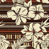Stammes- Gewebetapete der abstrakten Hibiscusblume