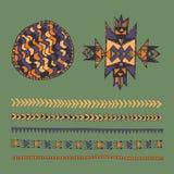 Stammes- gezeichneter Satz des amerikanischen Ureinwohners Hand Symbole und Design elem Lizenzfreies Stockfoto