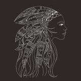Stammes- indische Frauentätowierung und T-Shirt Design Frauen-Tätowierungskunst des amerikanischen Ureinwohners Ethnischer Mädche vektor abbildung