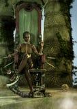 Stammes- Königin, die im hölzernen Thron mit einer Giftschlange sitzt Stockfoto
