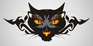 Stammes- Katzenkopf auf einem grauen Hintergrund Stockfotos