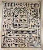Stammes- Kunst auf Seide von Indien Stockfotografie