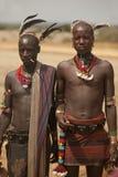 Stammes- Männer im Omo Tal in Äthiopien, Afrika Lizenzfreies Stockbild