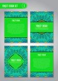 Stammes- Mandaladesignsatz Gekritzelillustration über Wald lizenzfreies stockbild