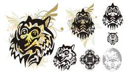 Stammes- Monsterwolfkopf mit spritzt und der Kopf des Monsters Stockfotografie