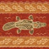 Stammes- Muster des Schnabeltiers und der Fische Lizenzfreie Stockfotos