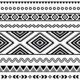 Stammes- nahtloses Muster, aztekischer Schwarzweiss-Hintergrund Lizenzfreies Stockbild