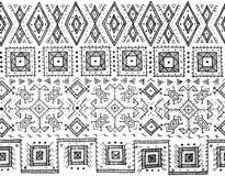 Stammes- nahtloses Schwarzweiss-Muster indische oder afrikanische ethnische Stempelart Von Hand gezeichnetes Vektorbild für antis Lizenzfreie Stockfotografie