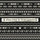 Stammes- Sammlung des nahtlosen abstrakten Vektors Grenzim Monochrom Stockbild