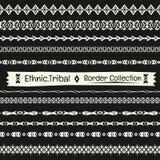 Stammes- Sammlung des nahtlosen abstrakten Vektors Grenzim Monochrom Lizenzfreies Stockbild
