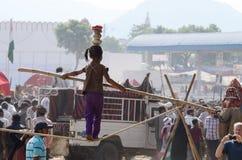 Stammes- Seilwanderermädchen am Kamel angemessen, Indien Stockbild