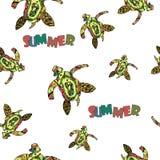 Stammes- stilisierte Schildkröte Zentangle Hand gezeichnet Stockbilder