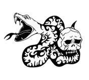 Stammes- Tätowierung - Schlange und Schädel - moderne Kunst stock abbildung