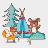 Stammes- Tier des Bären und des Fuchses mit Lager stock abbildung
