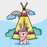 Stammes- Tier des Kaninchens mit Lager und Regenbogen stock abbildung