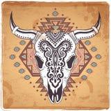 Stammes- Tierschädelillustration mit ethnischem Stockbilder
