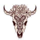 Stammes- Tierschädelillustration mit ethnischen Verzierungen Lizenzfreie Stockfotos