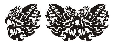 Stammes- Vogelflügel und -schmetterling Stockbilder