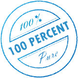 Stamp 100% pure. Round light-blue quality stamp Stock Photography