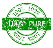 Stamp with 100% PURE. Rubber, grunge stamp with 100% PURE, ecology stamp Royalty Free Stock Photo