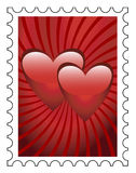 Stamp. Postage stamp with two hearts on a red background Royalty Free Stock Photo
