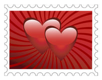Stamp. Postage stamp with two hearts on a red background Stock Photos