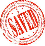 Stamp. Red stamp: Saved, Guaranteed by Christ Royalty Free Stock Photos