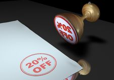 Stamp: 20$ OFF. Illustration of a rubber ink stamp on paper Royalty Free Stock Photo