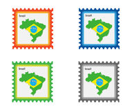 Stamp. Illustration of stamp with Brazil map vector illustration