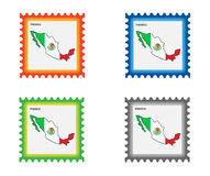 Stamp. Illustration of stamp with Mexico map stock illustration