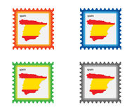 Stamp. Illustration of stamp with Spain map stock illustration