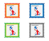 Stamp. Illustration of stamp with United Kingdom map vector illustration