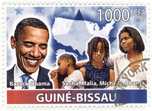 Stamp with 44th president of USA - Barack Obama Royalty Free Stock Images