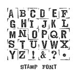 Stamp abc 1. Vector alphabet. Modern stamps letters with grunge texture. Easy recolor Royalty Free Stock Photography