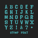 Stamp abc 6. Vector alphabet. Modern stamps letters with grunge texture. Easy recolor Royalty Free Stock Images
