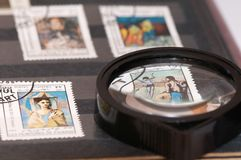 Stamp album. Reminiscing about stamp collections above a stamp album Royalty Free Stock Photography