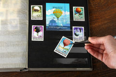 Stamp album stock image
