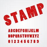 Stamp alphabatic font and number Royalty Free Stock Images