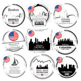 Stamp of American cities Royalty Free Stock Images