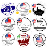 Stamp of American cities Stock Photography
