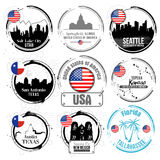 Stamp of American cities Royalty Free Stock Image
