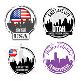 Stamp of American cities Royalty Free Stock Photos